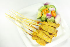 Beef satay, pork satay, chicken satay Stock Images