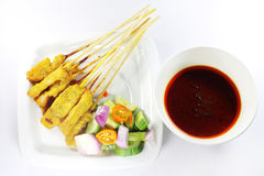 Beef satay, pork satay, chicken satay Royalty Free Stock Photos