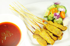 Beef satay, pork satay, chicken satay Stock Photo