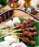 Beef satay. Roasted meat skewer Malay food. Traditional Malaysia food. Hot and spicy Malaysian dish, Asian cuisine royalty free stock photography