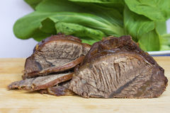 Beef section. On the cutting board cut beef, show section Royalty Free Stock Image