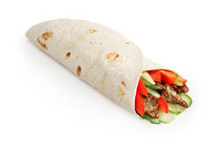 Beef shawarma isolated. Beef shawarma wrap with vegetables. Infinite depth of field royalty free stock photos
