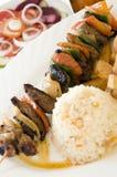 Beef shish kabob rice Nicaragua style Royalty Free Stock Photography