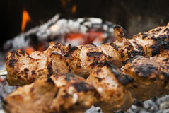 Beef shish kabobs on the grill Stock Image