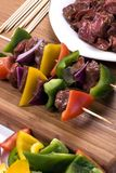 Beef Shishkabobs 1. Preparing fresh beef steak shishkabobs with vegatables Stock Image