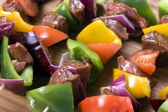 Beef Shishkabobs 3. Preparing fresh beef steak shishkabobs with vegatables Royalty Free Stock Photos