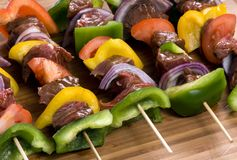 Beef Shishkabobs 4. Preparing fresh beef steak shishkabobs with vegatables Stock Photo