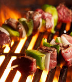 Beef shishkabobs on the grill royalty free stock photos