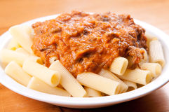 Beef short rib rigatoni ,with heirloom tomato sauce and cheese Royalty Free Stock Images