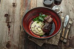 Beef Short Ribs With Parsnip Buree, Copy Space Stock Photography
