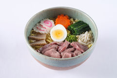 Beef shoyu ramen  on white background, beef with japanes Royalty Free Stock Image
