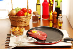 Beef sirloin and other ingredients. During cookery session Royalty Free Stock Images