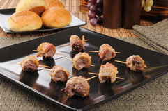 Beef sirloin tips wrapped in bacon Royalty Free Stock Images