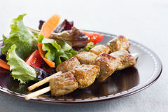 Beef skewer with salad Stock Photos