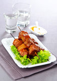 Beef Skewers. BBQ beef on a stick on the leaves of lettuce Stock Photography