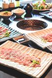 Beef slice for barbecue, Japanese food , Yakiniku. Cooking in Japanese Style. Japanese Cuisine Royalty Free Stock Images