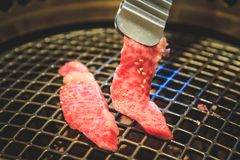 Beef slice for barbecue, Japanese food, Yakiniku. Cooking in Japanese Style. Japanese Cuisine Stock Photos