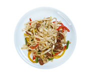 Beef slice  and udon-noodle. Stock Photos