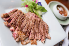 Beef sliced steak grilled Stock Images