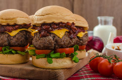Beef Sliders with homemade barbecue sauce. Cheddar, cherry tomatoes and microgreens Stock Photo