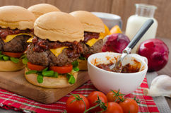 Beef Sliders with homemade barbecue sauce. Cheddar, cherry tomatoes and microgreens Stock Images