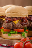 Beef Sliders with homemade barbecue sauce Stock Image