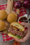 Beef Sliders with homemade barbecue sauce Stock Photo