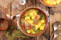 Beef soup. With vegetable, top view stock image