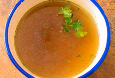 Beef soup with parsley close up Stock Photos