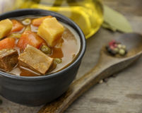 Beef Soup With Vegetables stock photo