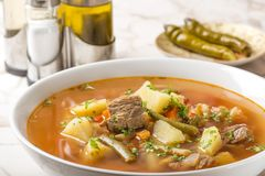 Beef soup with vegetablew in white bowl Stock Photo