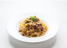 Beef spaghetti bolognese bolognaise famous italian pasta food Royalty Free Stock Image