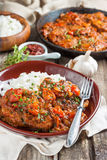Beef in a spicy tomato sauce with rice Royalty Free Stock Images
