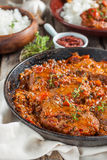 Beef in a spicy tomato sauce with rice Royalty Free Stock Photography