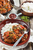 Beef in a spicy tomato sauce with rice Royalty Free Stock Photos