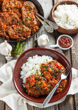 Beef in a spicy tomato sauce with rice Stock Photography