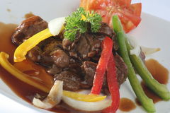Beef steak. With paprika slice Stock Photo