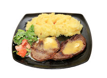 Beef steak. With potatoes and salad Royalty Free Stock Photos