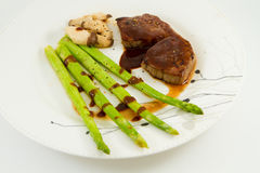 Beef Steak with  asparagus and mushroom Royalty Free Stock Photography