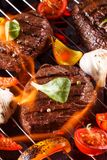 Beef steak on a barbecue grill Royalty Free Stock Photography