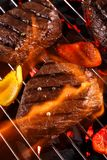 Beef steak on a barbecue grill with vegetables Royalty Free Stock Images