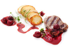 Beef Steak with brandied cherry sauce Stock Images