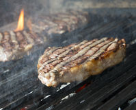 Beef steak cooking Royalty Free Stock Image