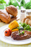 Beef steak. On a dinner stock images