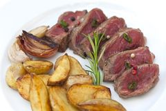Beef steak and French fries Stock Image