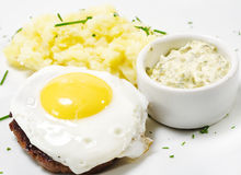 Beef Steak with Fried Egg Stock Photo