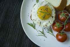 Beef steak with fried egg in spices. Decorated with rosemary, fresh cherry and slices of bread. Filed on a white plate. Dark royalty free stock images