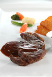 Beef steak. With fried and vegetable Royalty Free Stock Image