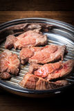 Beef steak in a frying pan. Royalty Free Stock Image