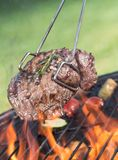 Beef steak on garden grill Stock Images